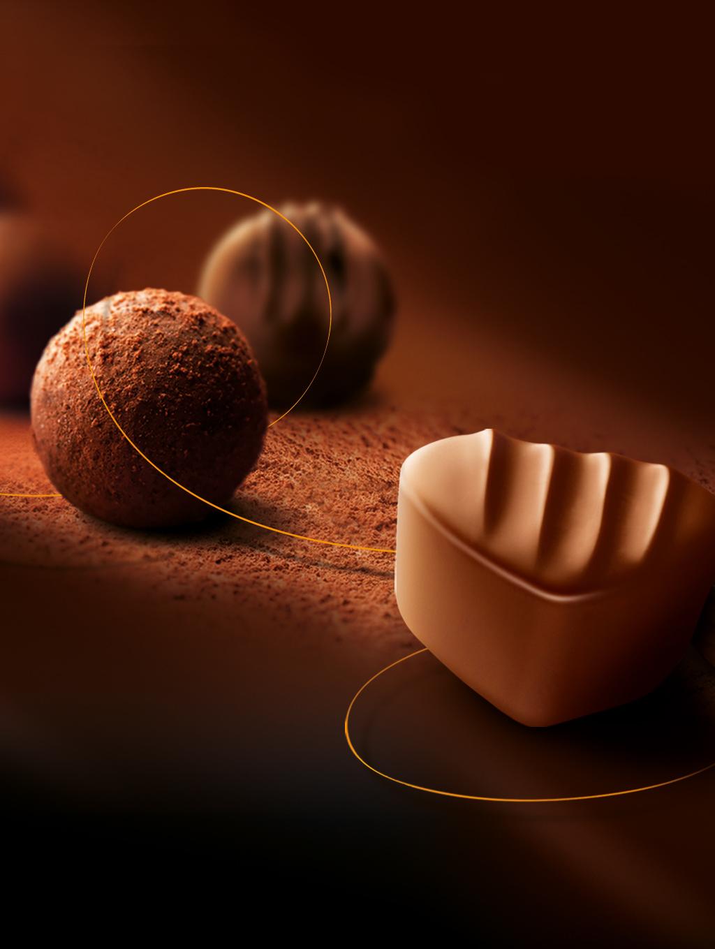 Die gute Geschenkidee, Traubenblatt aus Schokolade mit Champagner-Truffes